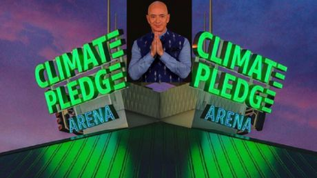 'Climate Pledge Arena': Jeff Bezos unveils massive neon virtue-signal for Seattle NHL stadium he'll RENAME