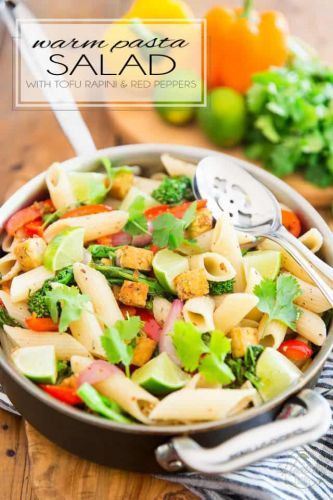 Warm Pasta Salad with Tofu Rapini and Bell Peppers