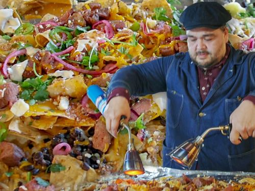 Watch: How to Make Eight Feet of Nachos for 100 People