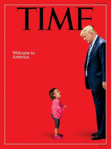 'Welcome to America': Trump looks down at crying migrant child in latest Time cover