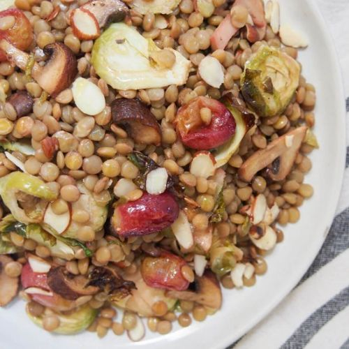 Lentil salad w Brussels sprouts