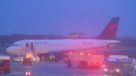 A Delta flight slid off a taxiway at Kansas City International Airport