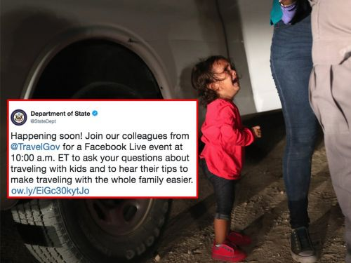 The Department of State is getting criticized for hosting a Facebook Live event 'about traveling with kids'