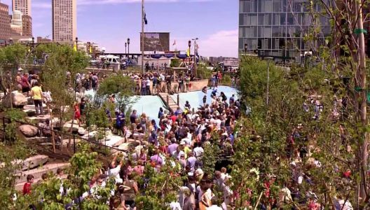 Hundreds celebrate opening of Martin's Park in Seaport