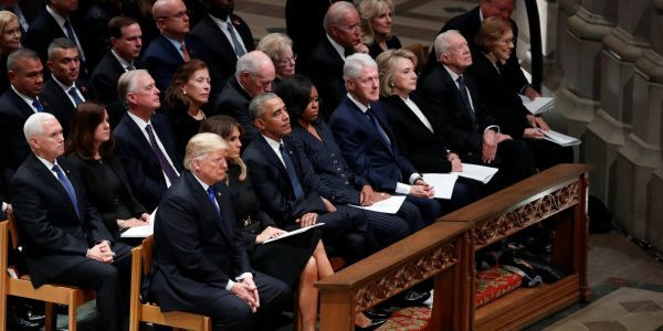 Obama and Trump have a chilly but civil reunion at George H.W. Bush's funeral