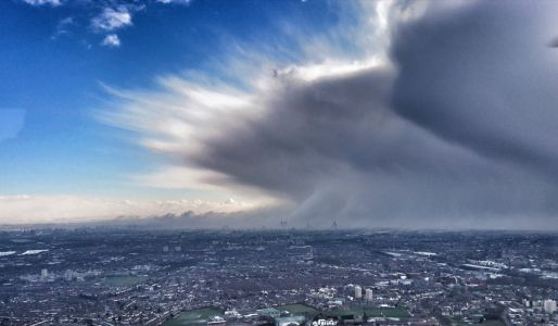 An insane photo shows the 'Beast from the East' cold weather system engulfing London - and it made the front page of half the newspapers in Britain