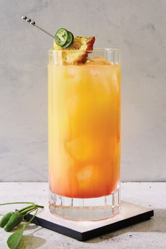Tequila Sunrise with Pineapple and Jalapeño