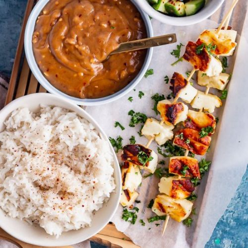 Grilled Halloumi Skewers with Satay