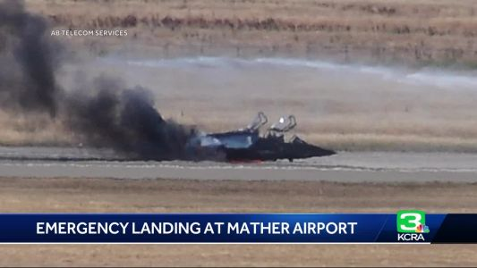 Plane ignites after emergency landing at Mather Airport