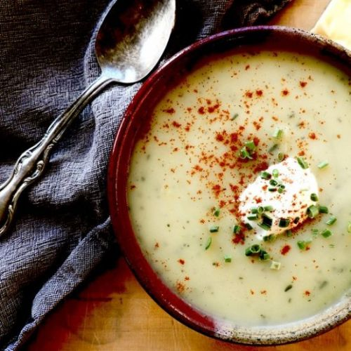Cheesy, smashed garlic potato soup
