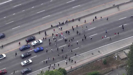 George Floyd protesters block I-5 in Sacramento