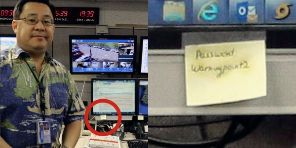 A password for the Hawaii emergency agency was hiding in a public photo, written on a post-it note