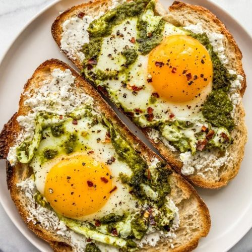 Pesto Eggs on Toast