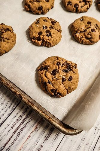 Vegan Salted Caramel Chocolate Chip Cookies