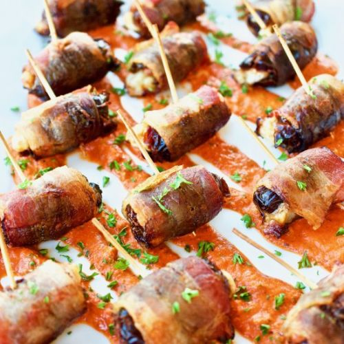Bacon Wrapped Dates with Romesco