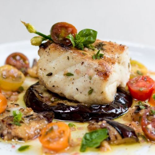 Grilled Sea Bass with Eggplant