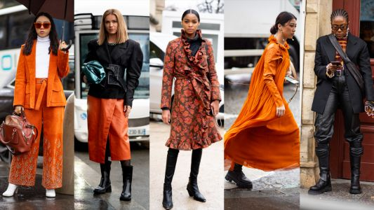 The Street-Style Crowd Was All About Orange on Day 3 of Paris Fashion Week
