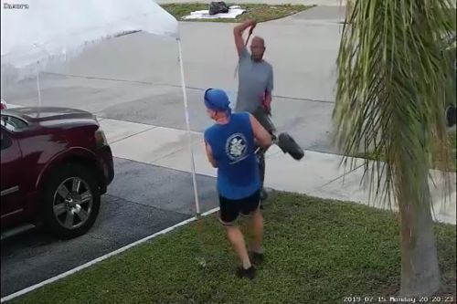 VIDEO: Florida man swings sword at jogger during fight over pile of trash