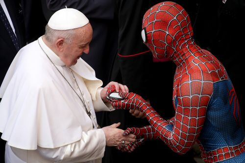 Spider-Man gives Pope Francis his own Marvel hero mask at Vatican