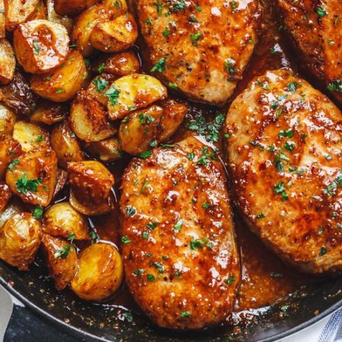Honey Mustard Pork Chops & Potatoes