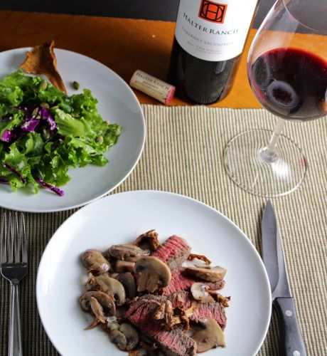 Roasted Sirloin Steak with Chanterelle Mushrooms and a Halter Ranch Cab