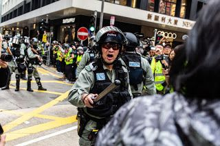 Hong Kong Protest-Approved by Police-Ends With Tear Gas, Arrests