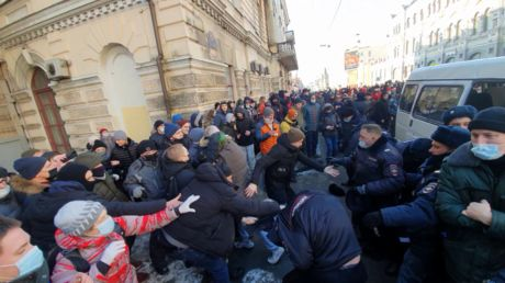 Protesters clash with Russian police amid unsanctioned rally in support of jailed anti-corruption activist Alexey Navalny