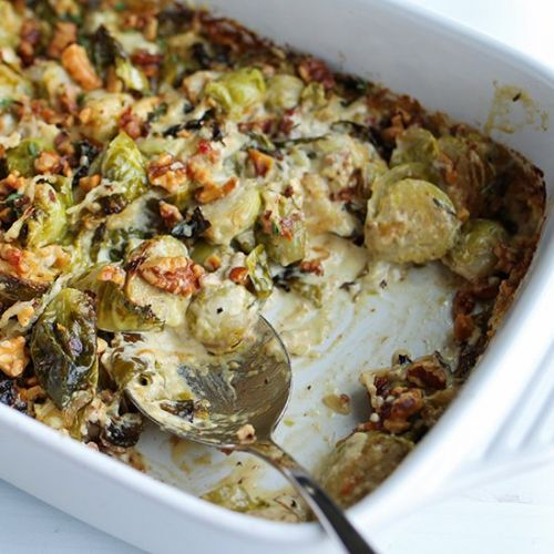 Cheesy Brussels Sprouts Gratin