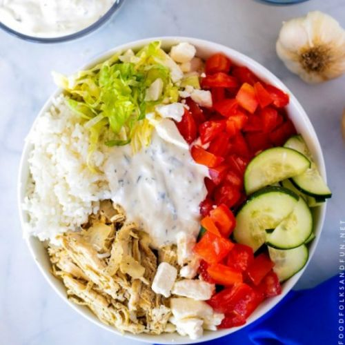Crock-Pot Chicken Gyro Bowls