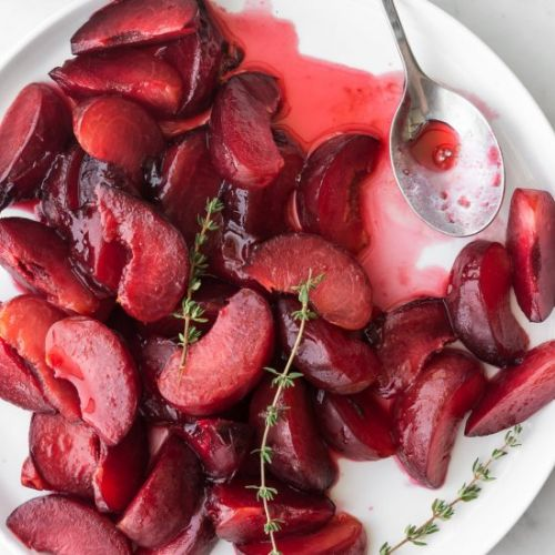 Honey thyme poached plums