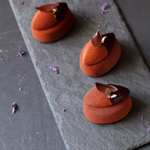 Chocolate Violet Mousse Cakes