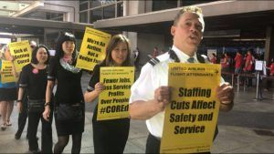 United Airlines flight attendants protest staff reduction outside airports