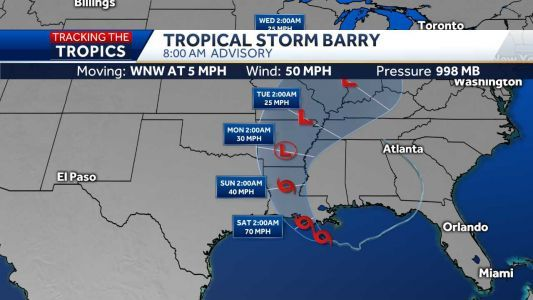 Tropical Storm Barry barrels toward Louisiana coast, landfall expected this weekend