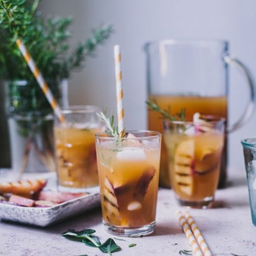 Grilled Nectarine Rosemary Iced Tea