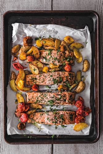 Salmon Provençal with Fingerling Potatoes and Cherry Tomatoes