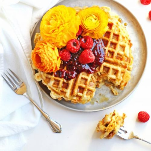 Green chile cheddar waffles