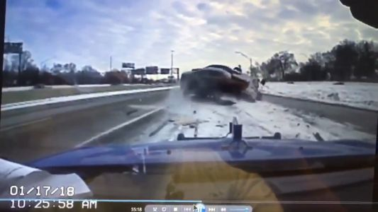 Watch: Terrifying video shows vehicle smashing into tow truck on Interstate