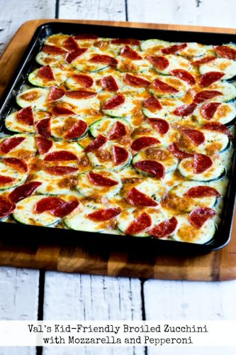 Val's Kid-Friendly Broiled Zucchini with Mozzarella and Pepperoni