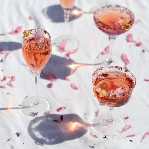 French rosé 75 cocktail