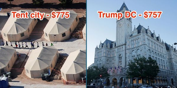 The migrant children in tent cities could all have a suite at Trump's DC hotel for less than US government is spending on detaining them