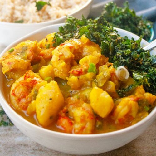 Curry Shrimp with Crispy Kale