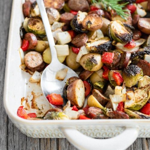 Easy healthy chicken sausage bake