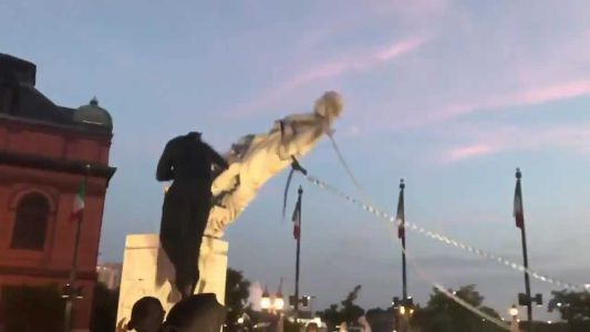 Christopher Columbus statue toppled in Baltimore, thrown into harbor