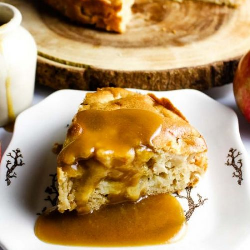 Easy Apple Cake with Toffee Sauce