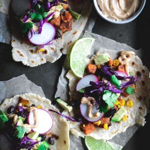 Vegan tacos with chipotle lime mayo