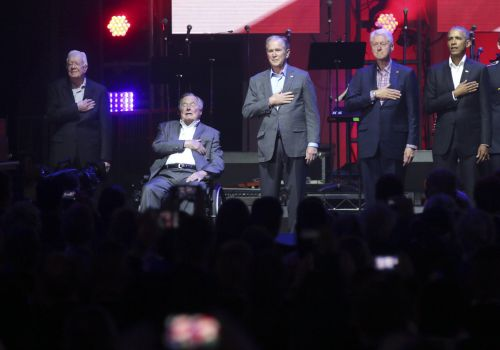 All 5 living former presidents appeared together at a concert to raise money for hurricane relief