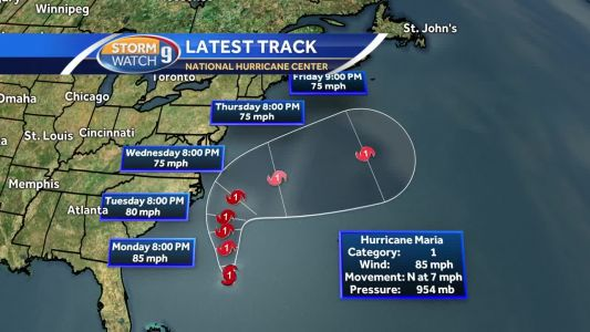 Projected tracks continue to keep Hurricane Maria offshore