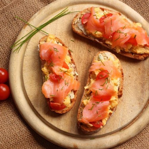 Smoked salmon scrambled egg toast