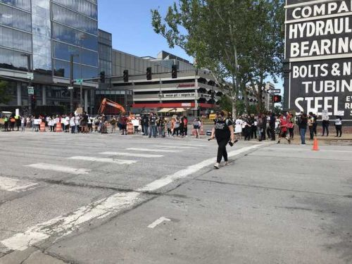 Demonstrators gather in spot where 22-year-old was shot, killed amid Old Market protests