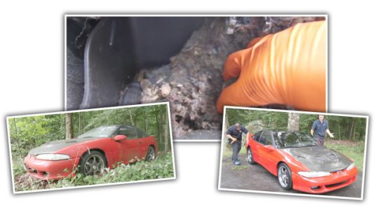 Watch an Astoundingly Filthy Eagle Talon Get Dragged Out of the Woods for Its First Wash in a Decade